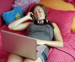 teenager multi-tasking